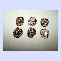 Double Sided Metal Picture Portrait  faux coin Buttons Andrew The Great & Owl