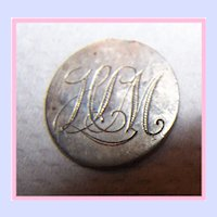 """GREAT BRITAIN Victoria 3 Pence Love Token Coin Engraved """"HLM"""""""
