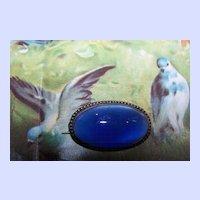 Sterling Silver Blue Luminous Art Glass Cabochon  Brooch / Pin
