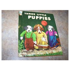 Collectible Three Little Puppies Rand McNally Elf Book Ruth Dixon Dressed-up  Photographed Pups