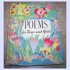 """H.C. Book """" Poems  for Boys and Girls"""" Complied By M. Barrows C. 1945"""