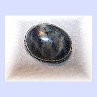 Stunning  Victorian Era Gray Marbled Agate Pin / Brooch