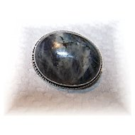 Stunning  Victorian Era Gray Marbled Agate Pin / Brooch