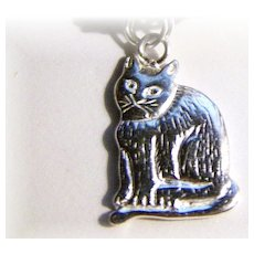 Purrrrfect  Charming Flat Style Vintage Kitty Cat Charm 925 Sterling Silver