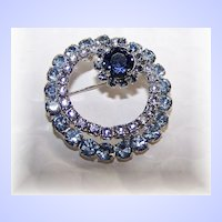 Unique Blue & Lavender Faux Alexandrite Color Changing  Rhinestone Circle Pin