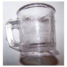 EAPG Dithridge Miniature  Glass Clear Fighting Cats Child's Mug