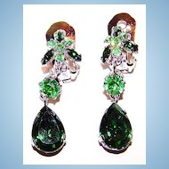 Green & Uranium Crystal Rhinestone Dangle Earrings Austria