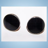 Vintage Deco Style Black Glass Screw Style Earrings