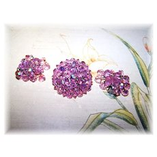 Pretty In Pink  Faceted Aurora Borealis Swarovski  Crystal Brooch & Waterfall Earring Demi-Parure
