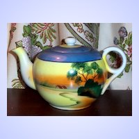 Vintage Hand Painted Tea Pot MIJ Tree In The Meadow