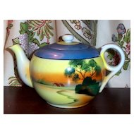 Vintage Hand Painted Tea Pot MIJ Tree In The Meadow