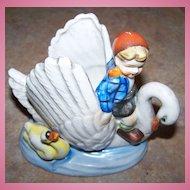 MIJ Ceramic Planter Hand Painted Child on Swan