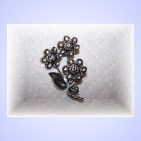 Pretty Sterling Silver Flower Brooch Signed Frarico