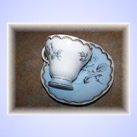 Powder Blue Floral Rose Motif Tea Cup & Saucer Foley