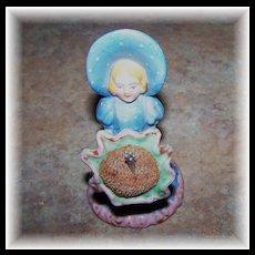 Ceramic Figural Sun Bonnet Girl  Pin Cushion Made In Japan