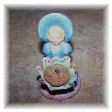 Ceramic Figural Sun Bonnet Girl  Pin Cushion Made In Japan