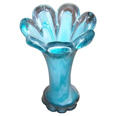 Pretty Turquoise Blue & White Art Glass Vase