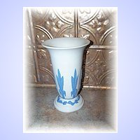 White & Blue Emery ECanada Art Pottery Jasperware  Vase