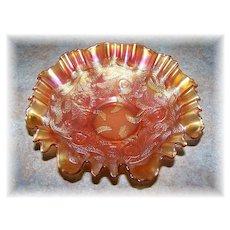 Fenton Heart & Vine Marigold Carnival Glass Ruffled Bowl
