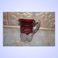 Sentimental  Ruby Flash Glass Souvenir Pitcher Mother 1915