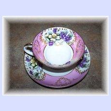 Pretty Floral Tea Cup & Saucer Violets Nippon Yoko Boeki Japan