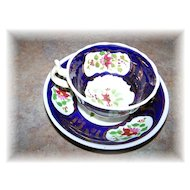 Pretty Hand Painted  Soft Paste Porcelain Cup & Saucer Floral Motif