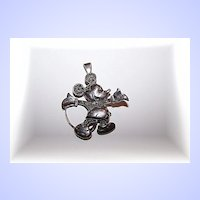 Sterling Silver 925 Mickey Mouse Marcasite Brooch / Pendant