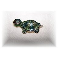 Sweet Enamel Figural Turtle Pin / Brooch
