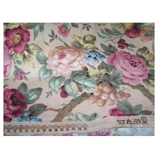 Vintage Material All Over Rose Floral Motif Colorful