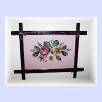 Vintage Wood Adirondack Style Cross Over Framed Floral Needle Point
