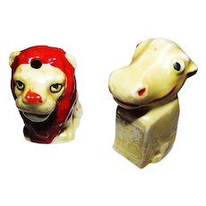 Lustre Ware Ceramic Mini Salt Pepper & Shaker Lion  Hippo