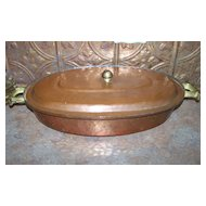 Vintage Copper Chafing Pan Brass Handles