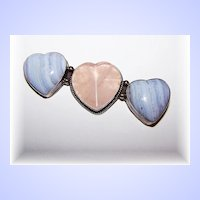 Chunky Sterling Silver Rose Quartz and Blue Lace Agate Heart Brooch