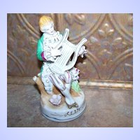 Ceramic Colonial Man Playing Lyre Musical Instrument Figurine Japan