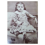 Vintage CDV Carte De Visite Photograph Charming Little  Girl