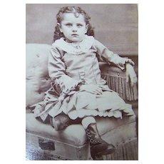 Vintage CDV Carte De Visite Photograph Charming Little  Girl