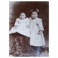 Vintage Cabinet Card Cute Chubby Children Reading PA Strunk