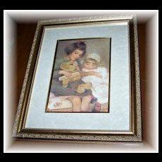 "A Charming Vintage Framed Print Titled "" Teddy """