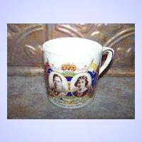 Small Royalty Souvenir Mug Crowned May 12 C. 1937  King George VI Queen Elizabeth