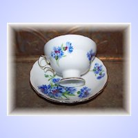 Vintage Hammersley Blue Cornflower Teacup & Saucer