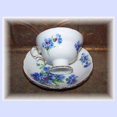 Vintage Hammersley Blue Cornflower Teacup & Saucer