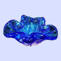 Stunning Mid-Century Blue Glass Ashtray Home Decor Accent