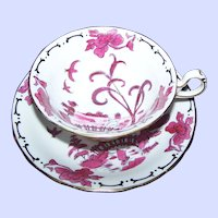 Hand Painted Royal Chelsea  Pink/Red PEKIN Fine Bone China Tea Cup And Saucer ENGLAND