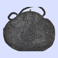 Black Glass Seed Bead Ladies Vintage Handbag Purse