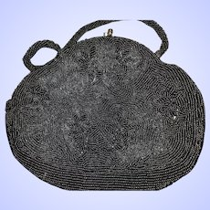 Black Glass Seed Bead Ladies Vintage Handbag Purse