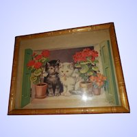 Vintage Framed Kitty Cat Wall Art Print