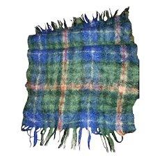 Fringed Scarf Mohair Wool Blend Nova Scotia Tartan Bonda Textile Yarmouth MI Scotland Vtg