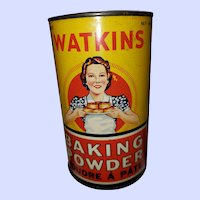 Vintage Advertising Tin Litho Can Watkins Baking Powder