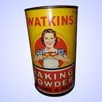 Vintage Advertising Tin Litho Can Watkins Baking Powder