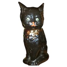 Sweet Painted Black Kitty Cat Still Coin Bank England